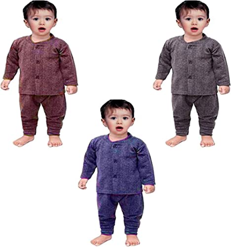Baby Comforts Baby's winterwear Thermal Fleece Inner Suit, Body Warmer Thermal Set for Boys & Girls (Pair of 3; 0 Mon...
