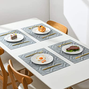 SUBEKYU Silicone Placemats for Dining Table, Place Mats for Toddlers/Kids/Baby Set of 4, Waterproof/Non Slip Rubber Placemats