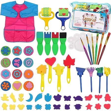 DigHealth 58 Pezzi Pennelli Spugna per Pittura, Kit di Pittura per Bambini, Early Learning Kids Set di Pittura con Grembiule Impermeabile, Giocattolo Fai-da-Te per Bambini dai 3+ Anni