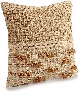 TU TENDENCIA UNICA Cojín Decorativo de Punto Beige con Motivos y borlas de algodón en Beige y marrón. Medidas: 45x15x45 cm