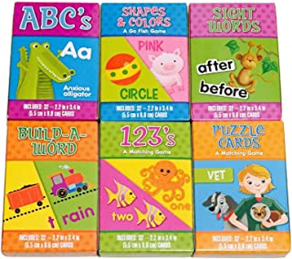 Educational Children's Card Game Bundle Includes 6 Games - ABC's, Shapes and Colors, Sight Words Build-A-Word, 123s, Puzzle Cards