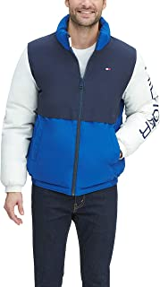 mens Retro Colorblocked Stand Collar Performance Puffer Jacket
