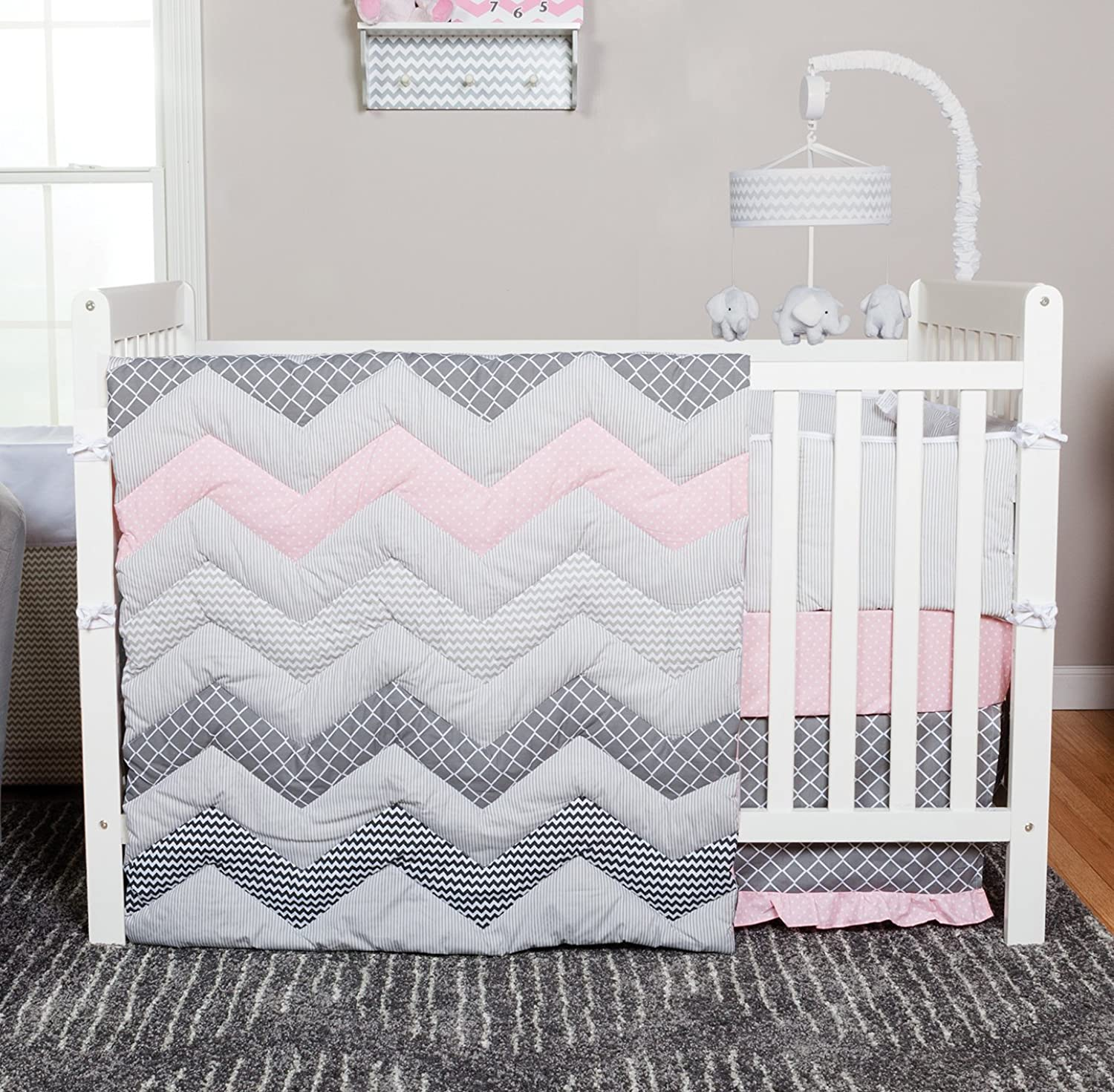 Trend Lab Chevron 3 Piece Crib Bedding Set, Cotton Candy
