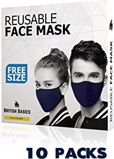 BRITISH BASICS Branded Reusable Cotton Cloth Face Mask. Unisex Washable mouth cover for Men & Woman. Anti Dust - Cycling, Walking, Travel - Free Size - Navy Blue - 10 Packs - قناع الوجه القماش