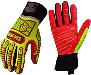 Seibertron HIGH-VIS HRIG Anti Impact Work Gloves Hi-Vis Oil and Gas Water Resistant Safety Heavy Duty Utility Mechanic Rigger Glove with TPR Protection Yellow Red CE EN388 4132 XL