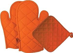 DM COOL COTTON - Oven Gloves & Pot Holder Set (Orange) (2 Oven Gloves + 1 Pot Holder) (Heat Proof)