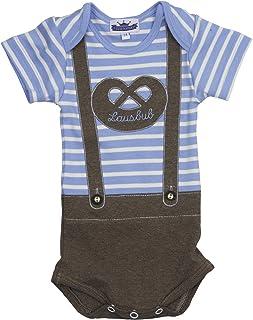Eisenherz Babybody Lederhose Lausbub Kurzarmbody für Jungen, gestreift mit Breze, EIN tolles Geschenk zur Geburt!