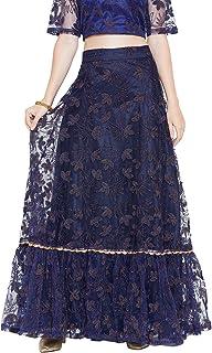 Studiorasa Women's Net Floral Embroidered Embellished Tiered Skirt (SKTC419146_Navy)