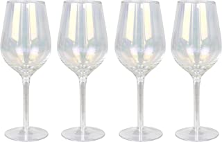 Top Shelf Decorative Pearl Luster Wine Glass Set with Gift Box, For Red or White Wine, Unique Gift Ideas for Birthdays, Mothers Day, Weddings, and Holidays, Set of 4