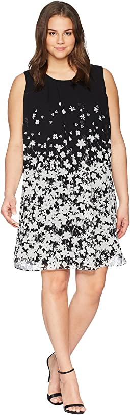 Plus Size Printed Sleeveless A-Line Dress