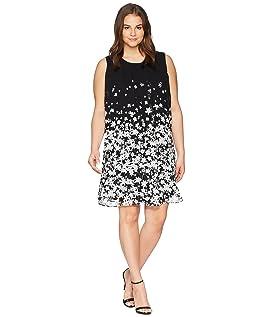 Plus Size Printed Sleeveless A-Line Dress