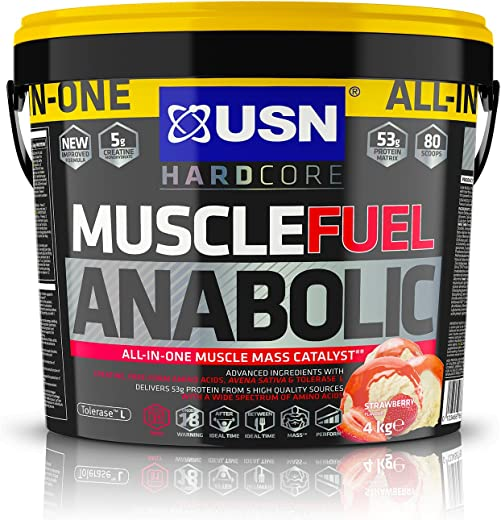 USN Muscle Fuel Anabolic Strawberry Protein Shake 4KG: Workout Boosting All in One Muscle Gain Protein Powder