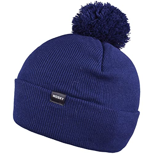0b41d28a5dc WDSKY Men s Winter Knit Pom Pom Beanie Hat Cuffed