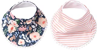 """Baby Bandana Drool Bibs for Drooling and Teething 2-Pack Fashion Bibs Gift Set """"Audrey"""" by Copper Pearl"""