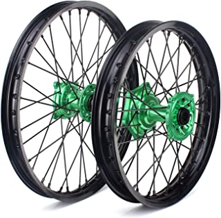 "TARAZON 21"" 19"" MX Wheels Set Rims Green Hubs for Kawasaki KXF 250 450 KX250F KX450F 2006-2018 KX125 KX250 2006-2013"