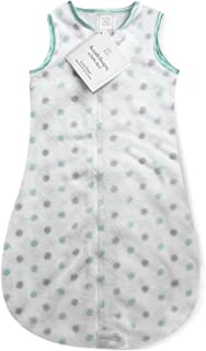 SwaddleDesigns Microfleece Sleeping Sack with 2-Way Zipper, SeaCrystal and Sterling Dots, 0-6MO
