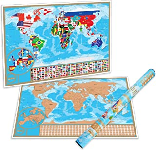 Scratch Off Map of the World with Flags - Detailed US States and Europe Map | World Scratch Off Poster is a Perfect Present for Travelers | Premium Quality And Large Size