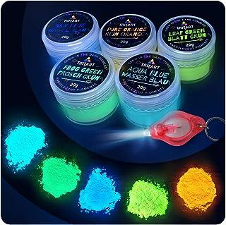 Tritart polvo fluorescente auto-brillante I 5 x 20g Pigmentos que brillan en la noche I Luz Polvo Set con Lámpara UV GRATIS