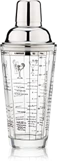 Sponsored Ad - True Glass Shaker with 7 Cocktail Recipes, Jigger and Strainer, Bar Tool, 13.5 oz Barware Sets, 400 ml, Clear