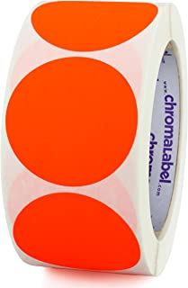 ChromaLabel 2 inch Color-Code Dot Labels | 500/Roll (Fluorescent Red-Orange)