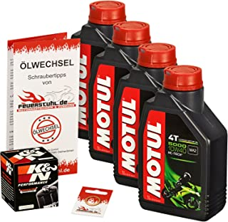 Motul 10W 40 Öl + K&N Ölfilter für Yamaha FJR 1300 /A/AS, 01 12, RP04 RP08 RP11 RP13   Ölwechselset inkl. Motoröl, Filter, Dichtring