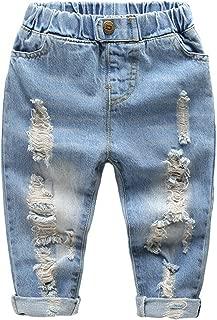 TJTJXRXR Little Baby Boys Girl Ripped Western Jeans Kids Girls Friend Style Denim Pants