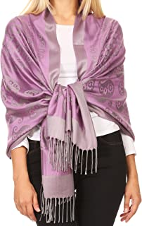 Sakkas Mia Reversible Brocade Paisley Scarf Wrap Shawl Soft and Light