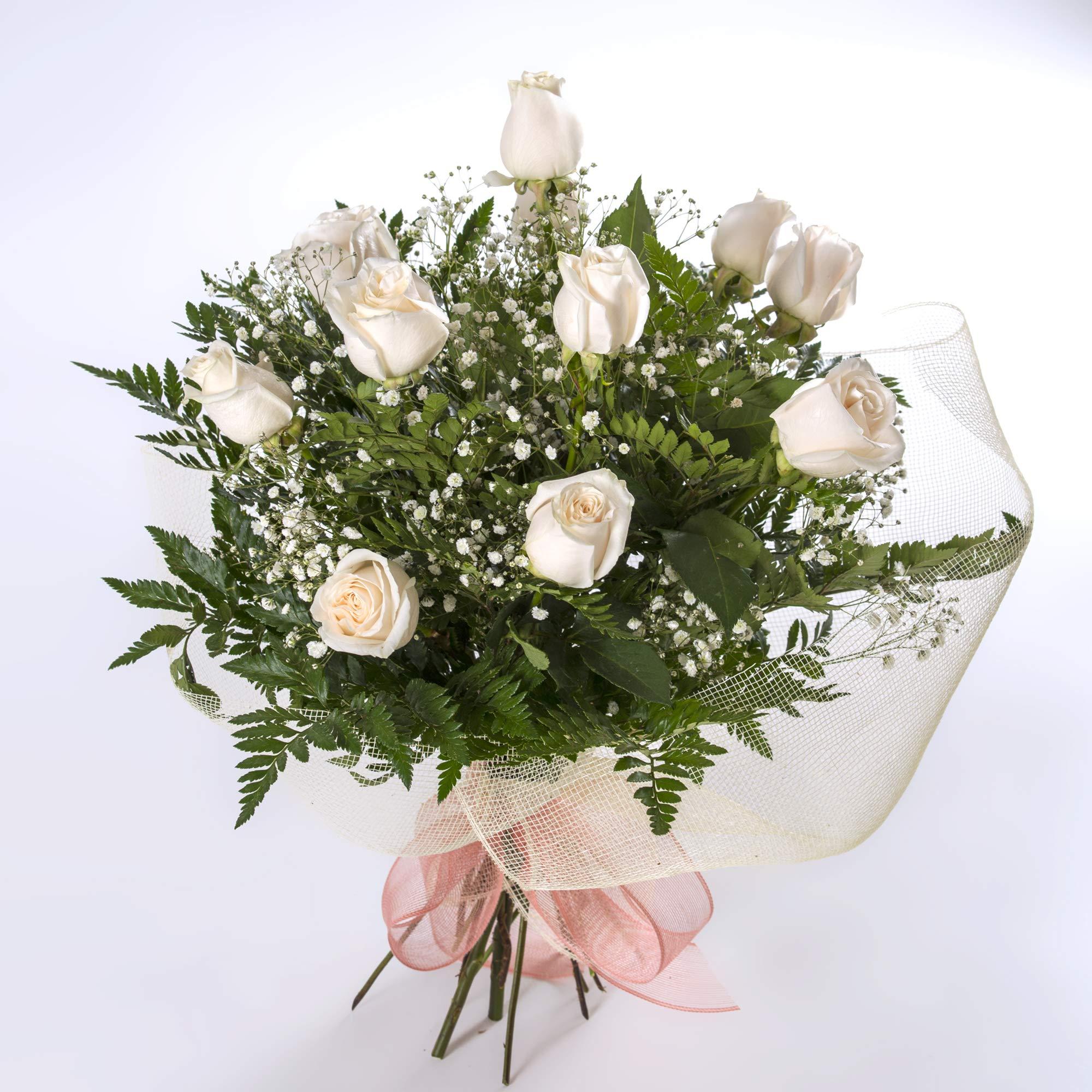 REGALAUNAFLOR-Ramo de 12 rosas blancas naturales-FLORES FRESCAS-ENTREGA EN 24 HORAS DE MARTES A SABADO.: Amazon.es: Jardín