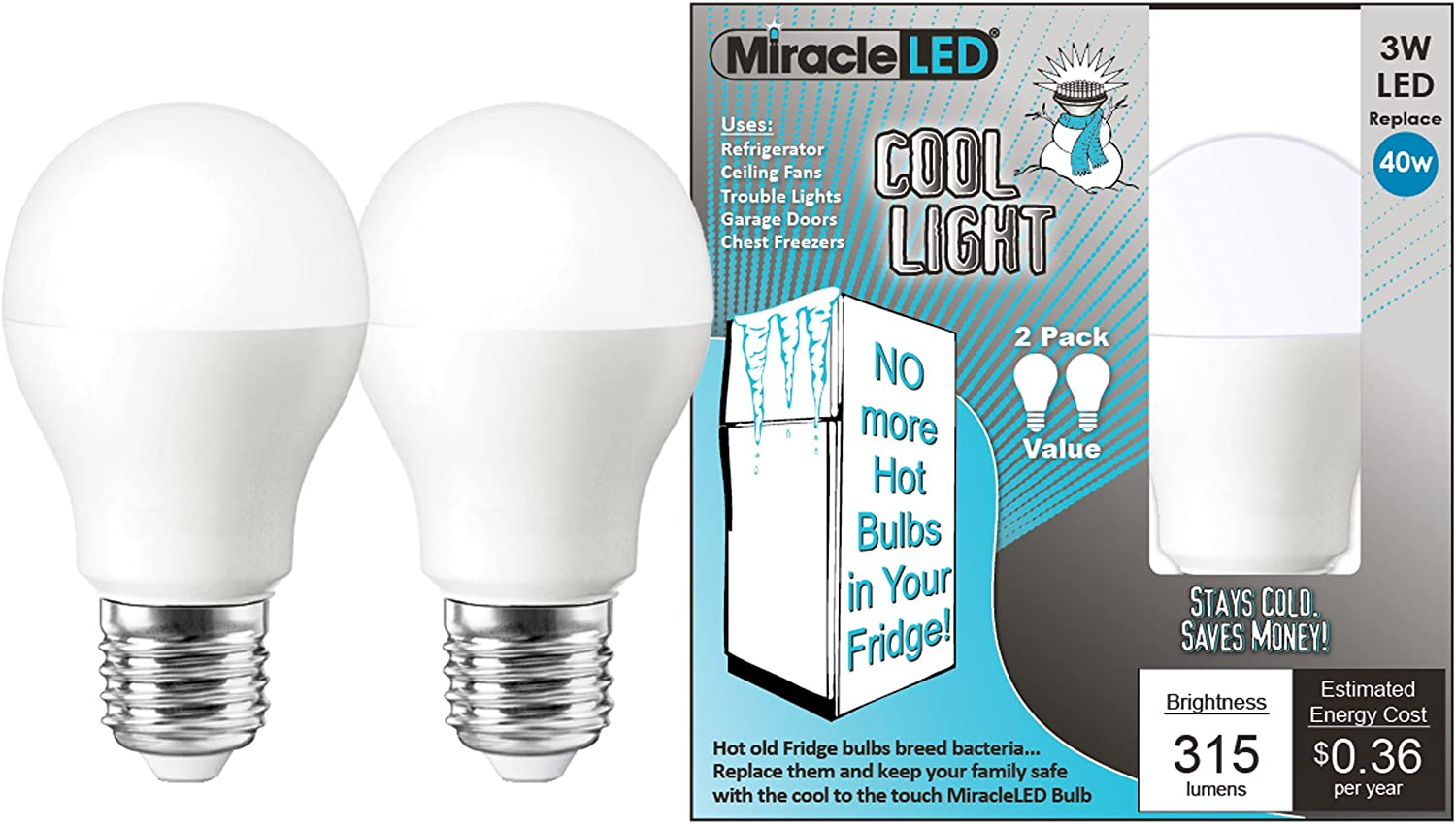 MiracleLED Excellent 604062 3W Refrigerator Sales of SALE items from new works 24 Freezer Low-Energy Light