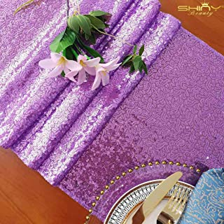 ShinyBeauty Lavender Table Runners Pack of 2 Sequin Table Runners 12inx108in Lavender Sequin Runner -1107