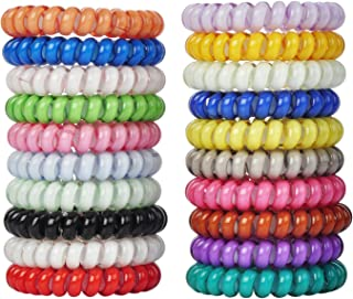 LuzGod 20 PCS 20 Color No Crease Spiral Hair Ties Spiral Coil Hair Elastics No Damage Hair Band Ponytail Holder, Random Style Delivery