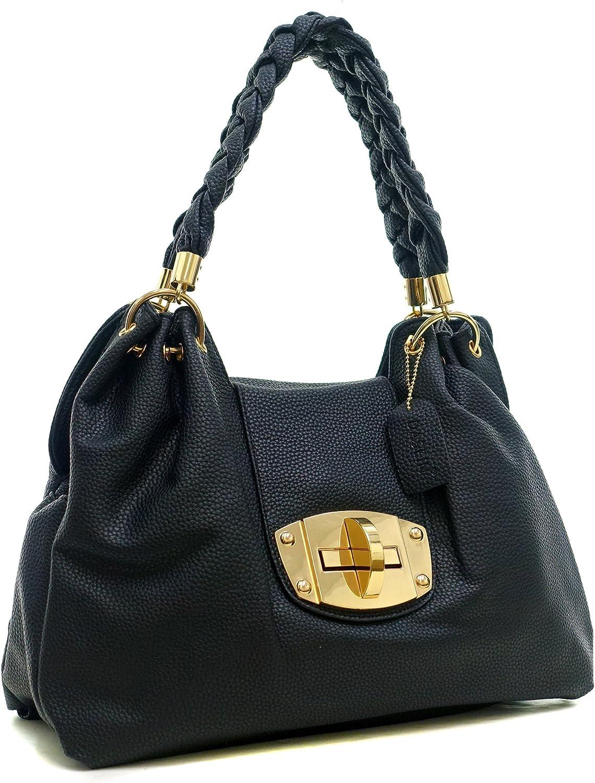 Dasein Faux Buffalo Leather Hobo Shoulder Bag Handbag Purse with Braided Shoulder Straps