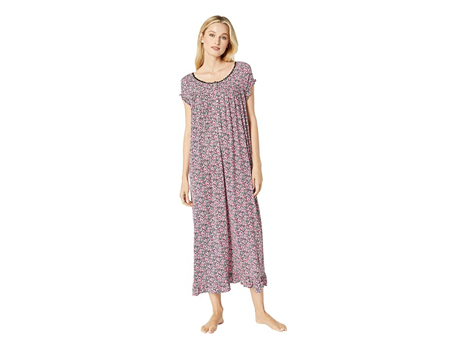 Eileen West Knit Modal Ballet Nightgown (Black Multi Ditsy Floral) Women
