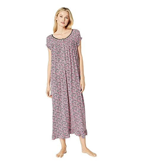 Eileen West  KNIT MODAL BALLET NIGHTGOWN, BLACK MULTI DITSY FLORAL