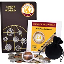 Zaioo World Coin Collectors Starter Kit ? 24 Coins from All Over The World + Coin Album + Magnifying Lens + Coin Bag Coins The World Bundle