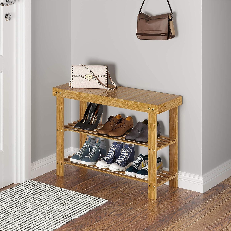 UDEAR Bamboo Shoe Rack Bench Storage Organiser Shoes Spasm Max 63% OFF price 3-Tier Entr