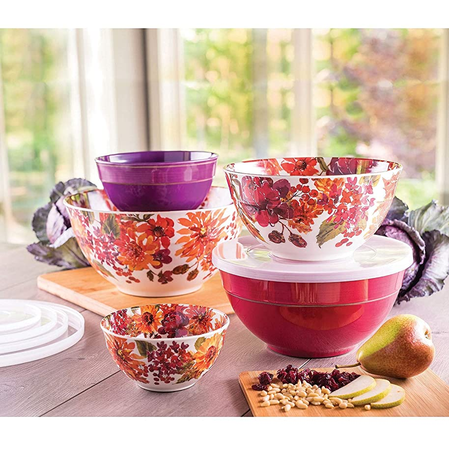 Melamine 10-Piece Mixing Bowl Set - Floral