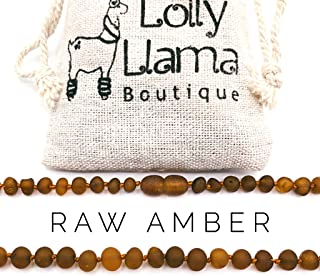 Raw Amber Teething Necklace for Babies (Unisex) Teething Pain Relief - Certified Genuine Baby Baltic Amber Necklace (13 Inches, Cognac)