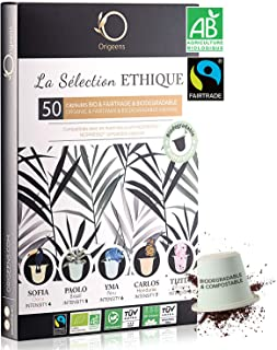 ORIGEENS Coffret Capsules Nespresso Compatible | 5 Cafés BIO Fairtrade Arabica | Capsule Biodégradable Compostable | Torré...