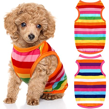 HYLYUN Printed Puppy Shirt 6 Packs Soft Breathable Pet T-Shirt Puppy Dog Clothes Soft Sweatshirt for Small Dogs and Cats XS
