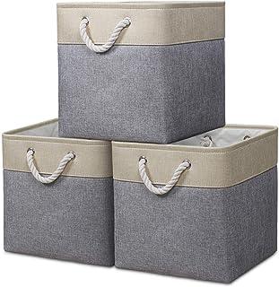 Syeeiex Storage Cube Basket [3-Pack] Boîte de Rangement Pliable en Tissu en Toile avec poignées pour Organiser, étagères, ...