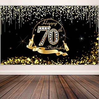70th Birthday Party Decoration, Extra Large Black Gold Sign Poster 70th Birthday Party Supplies, 70th Birthday Banner Photo Booth Happy Birthday Backdrop Background, 72.8 x 43.3 Inch