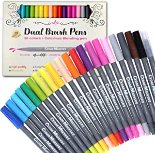 Cedar Markers Dual Brush Pens. 21 Calligraphy Pen Set. Fine Liner and Brush Tip Markers. Colored Pens, Art Pens for Adult Coloring Book and Bullet Journal. (21)