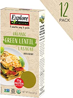 Explore Cuisine Organic Green Lentil Lasagne (6 Pack) - 8 oz - High Protein, Gluten Free Pasta, Easy to Make - USDA Certified Organic, Vegan, Kosher, Non GMO - 24 Total Servings