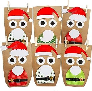 comprar comparacion 24 Calendarios de Adviento DIY para Rellenar, Bolsas de Regalo Santa Claus para Navidad| 24 Bolsas de Papel Marrón, 120 Pe...