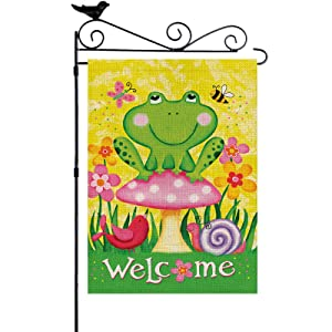 YISHOW Frog And Friends Garden Flag Double Sided Vertical House Banner Home Burlap Flags Welcome Yard Signs Outdoor Decor 12.5