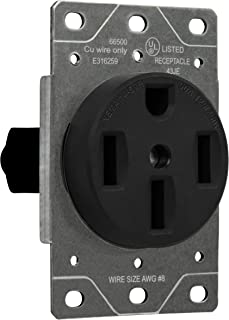 ENERLITES 50 Amp Range Receptacle Outlet for RV and Electric Vehicles, NEMA 14-50R, 3- Pole, 4 Wire (8, 6, 4 AWG Copper Only), 125/250V, 66500-BK, Black
