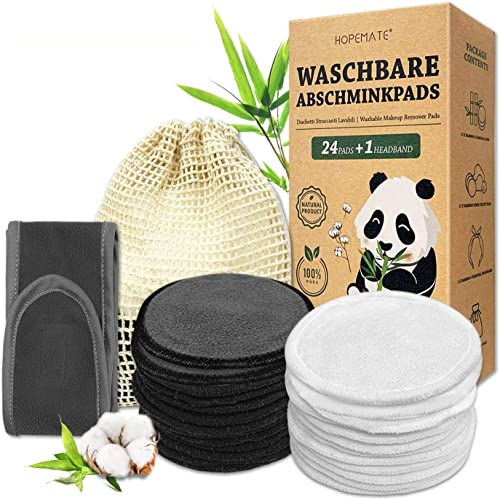 24 Pcs Coton Demaquillant Lavable, Réutilisable Tampons Démaquillants Fibre de Bambou, Lingette Demaquillante Lavable...