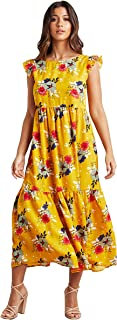 Floral Printed V Back Maxi Women's Dress with Ruffled Sleeves