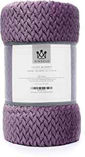 Kingole Flannel Fleece Luxury Throw Blanket, Lavender Purple Travel/Throw Size Jacquard Weave Pattern Cozy Couch/Bed Super Soft and Warm Plush Microfiber 350GSM (50 x 60 inches)